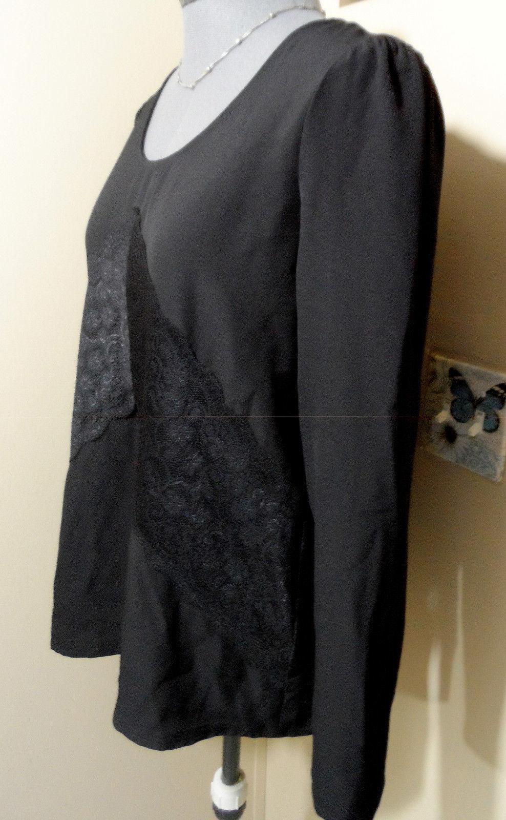 Nwt DE COLLECTION Lace Trim Blouse Top S Black Scoop neck Dressy shirt Long slv