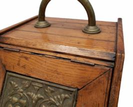 Vintage Antique Oak Wood Box Lid Scuttle Ash Coal Fireplace Liner Hearth Storage image 2
