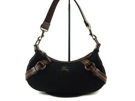 Authentic BURBERRY LONDON BLUE LABEL Black Wool, Leather Shoulder Bag BS... - $149.00