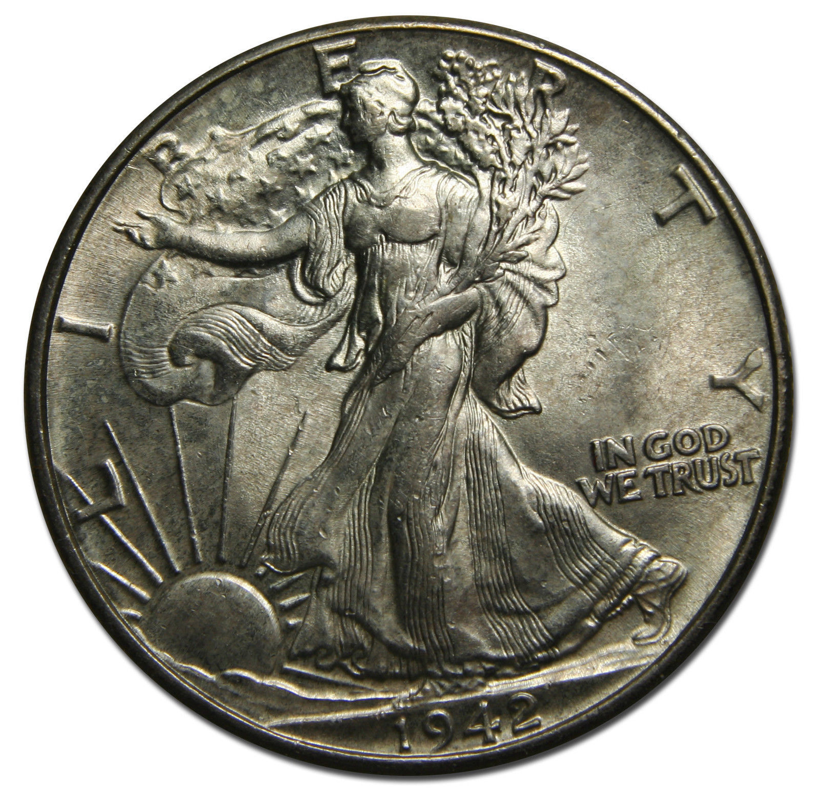 1942 Walking Liberty Half Dollar 90% Silver Coin Lot# MZ 3733