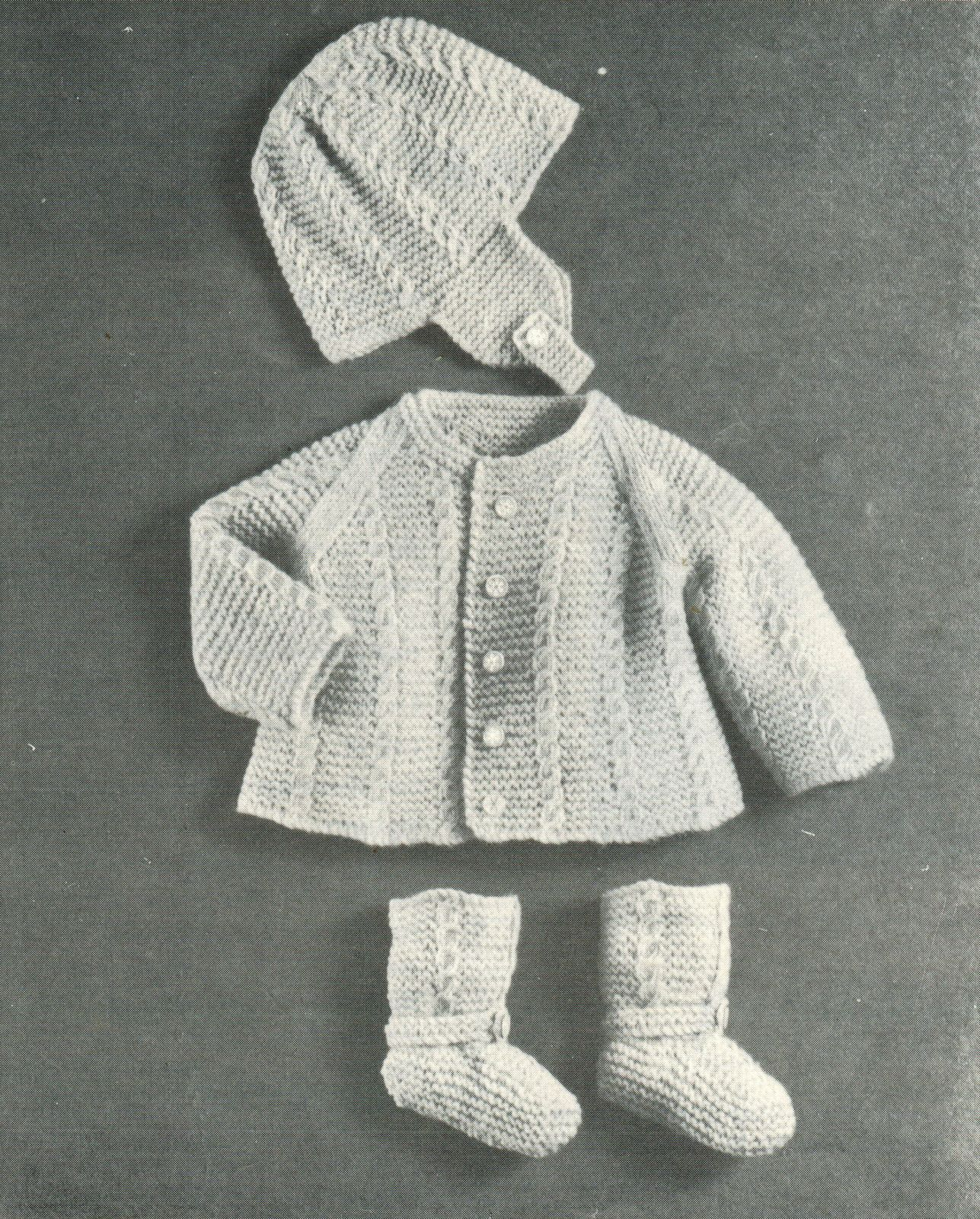 Vtg Mary Maxim Knit Layette Carriage Suit Cover Soaker Cape Dress Baby Book
