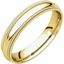 10k Yellow Gold 4 mm High Polished Comfort Fit Double Milgrain Wedding R... - $145.53+