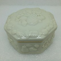 Lenox Fruits of Life Trinket Box Cream 24k Gold Trim Octagon 8 Sided Pin... - $12.60