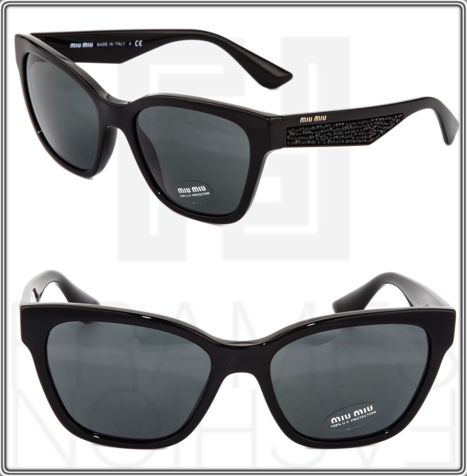 MIU MIU PAVE EVOLUTION MU 06R Square Black Rock 1AB-1A1 Sunglasses MU06RS Women