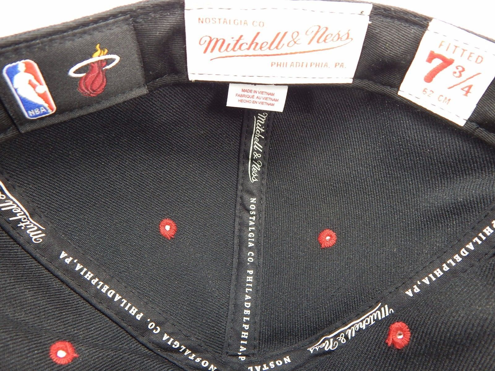 Miami Heat Mitchell & Ness Size 7 3/4 Crown Fitted NBA Cap Hat Black Red Gold
