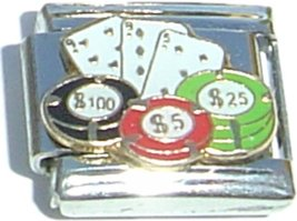 Cards And Poker Chips Italian Charm - $1.97