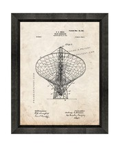 Solar Generator Patent Print Old Look with Beveled Wood Frame - $24.95+
