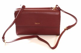 DKNY Donna Karan Burgundy Leather Double Flap Shoulder Bag / Clutch RRP ... - £151.48 GBP