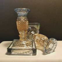 """Westmoreland Bi-Color Candlestick Pair Pale Blue and Peach Hobnail 6"""" Go... - $29.95"""