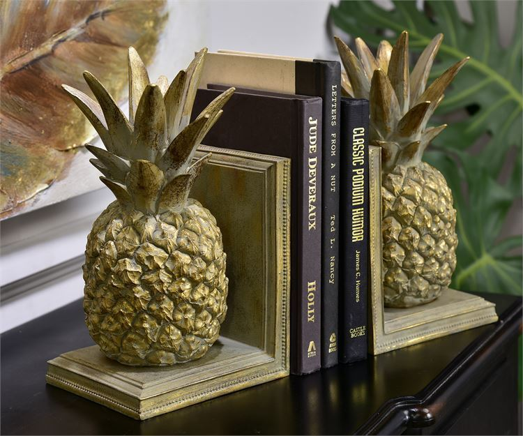 """10"""" Pineapple Design Bookends Set - Gold with Textural Detailing Polystone NEW"""