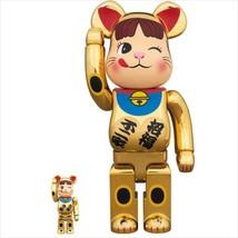 BE@RBRICK 400% & 100% beckoning cat peko chan gold plating Medicom Toy Figure - $250.99
