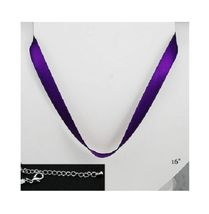 """TWO Adjustable Purple Satin Ribbon Choker Necklaces 16"""" Silver Plated Ad... - $3.35"""