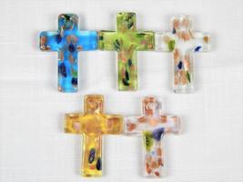 Murano Style Multi Colored Gliiter Art Glass Cross Pendant For Necklace ... - $1.00