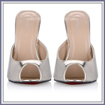 Blue Red Silver Ultra Mirror Peep Toe Slide Boudoir Stiletto Mule Heel Slippers image 5