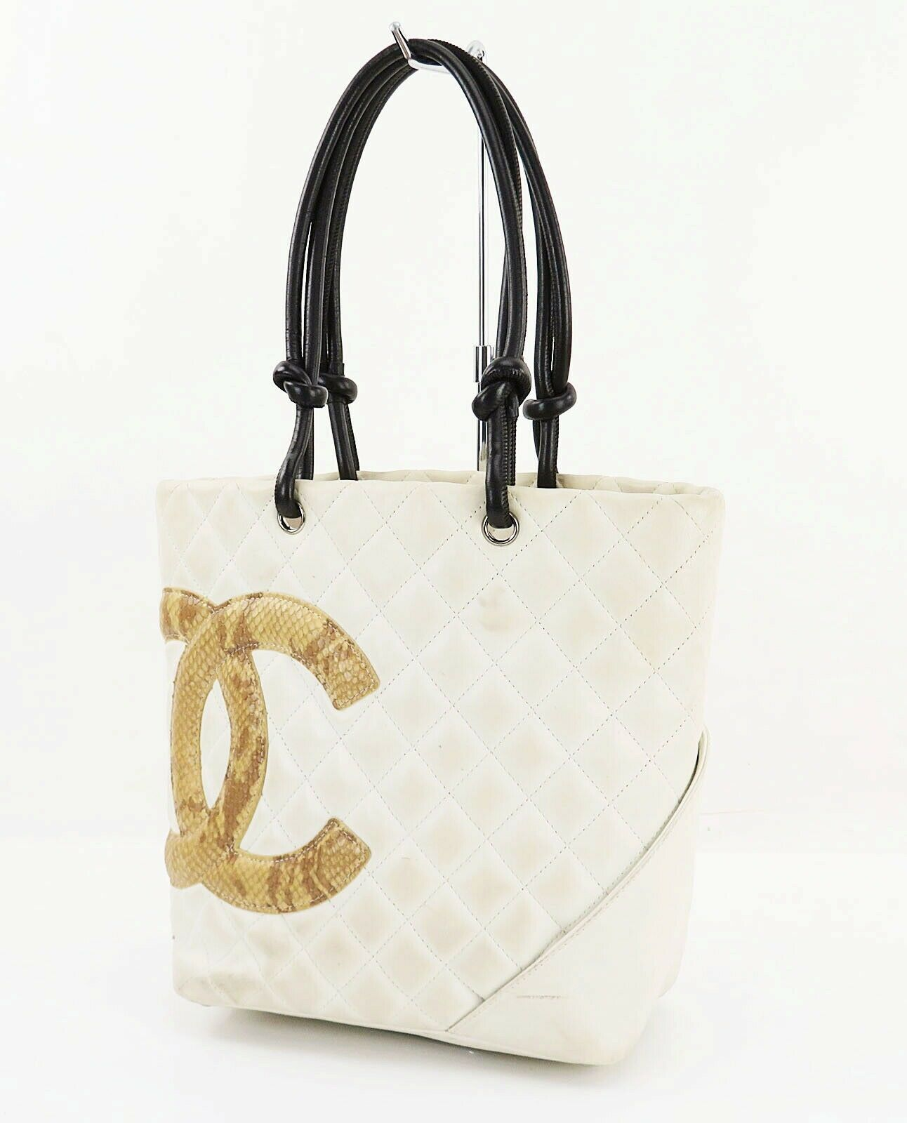 9b8962af7c3e Auth CHANEL Cambon Line Quilted Off White Leather Snake Skin CC Tote Bag   32139 - £453.95 GBP
