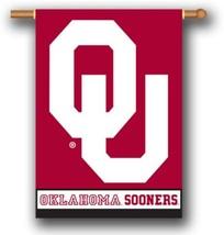 """Oklahoma Sooners 2 Sided 28"""" x 40"""" House Banner Flag W/ Pole Sleeve - $24.65"""