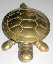 Vintage Tortoise Turtle Figurine Hinged Brass Trinket Box Miniature Statuette image 1