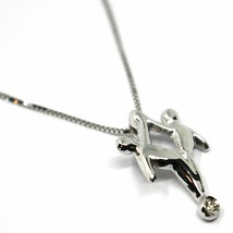 18K WHITE GOLD NECKLACE, GEMINI PENDANT WITH DIAMOND AND VENETIAN CHAIN  image 2