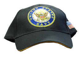 Navy Black Embroidered Cap Velcro Strap Flag Hat - $12.82