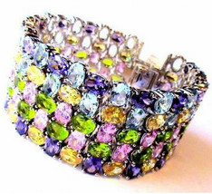 Beauty for Ashes Multi Color Rainbow CZ Ultimate Prom Evening Glitzy Bra... - $265.50