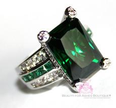 Cubic Zirconia Emerald Green City CZ Princess Cocktail Wedding Go Glitzy... - $129.00