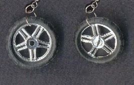 BIKE TIRE EARRINGS-Punk BMX Bicycle Motorcycle Toy Funky Jewelry - $5.97