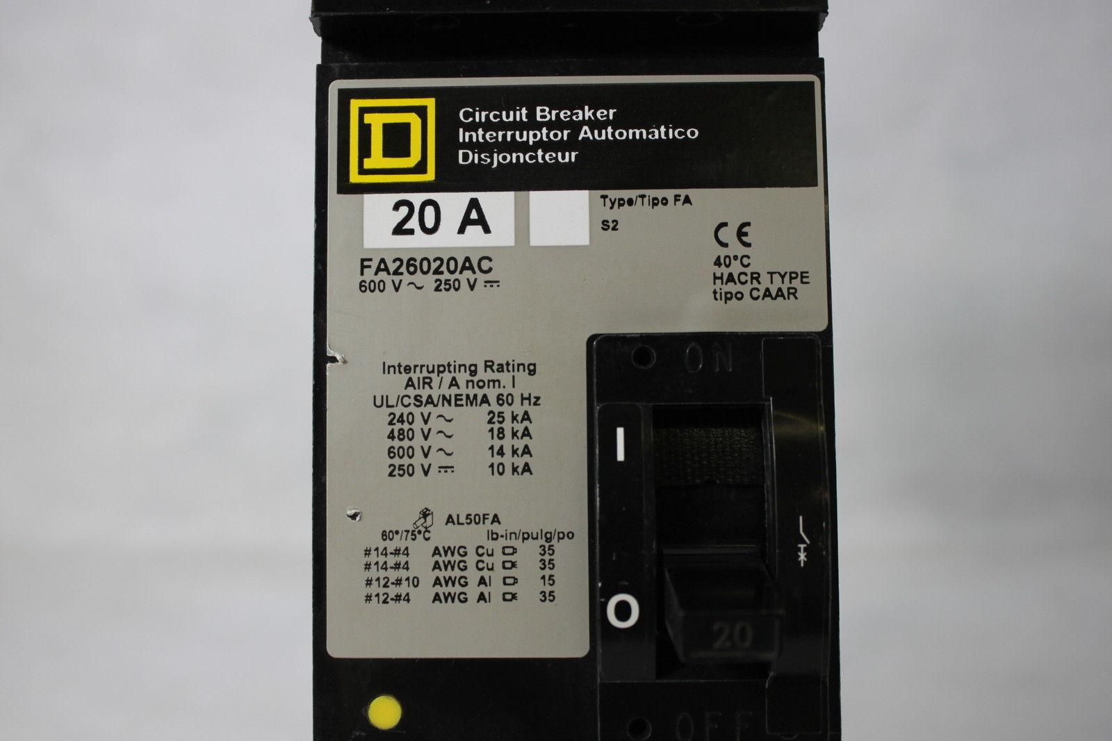 Square D 20A Circuit Breaker Interruptor FA26020AC Type FA 600V CAAR