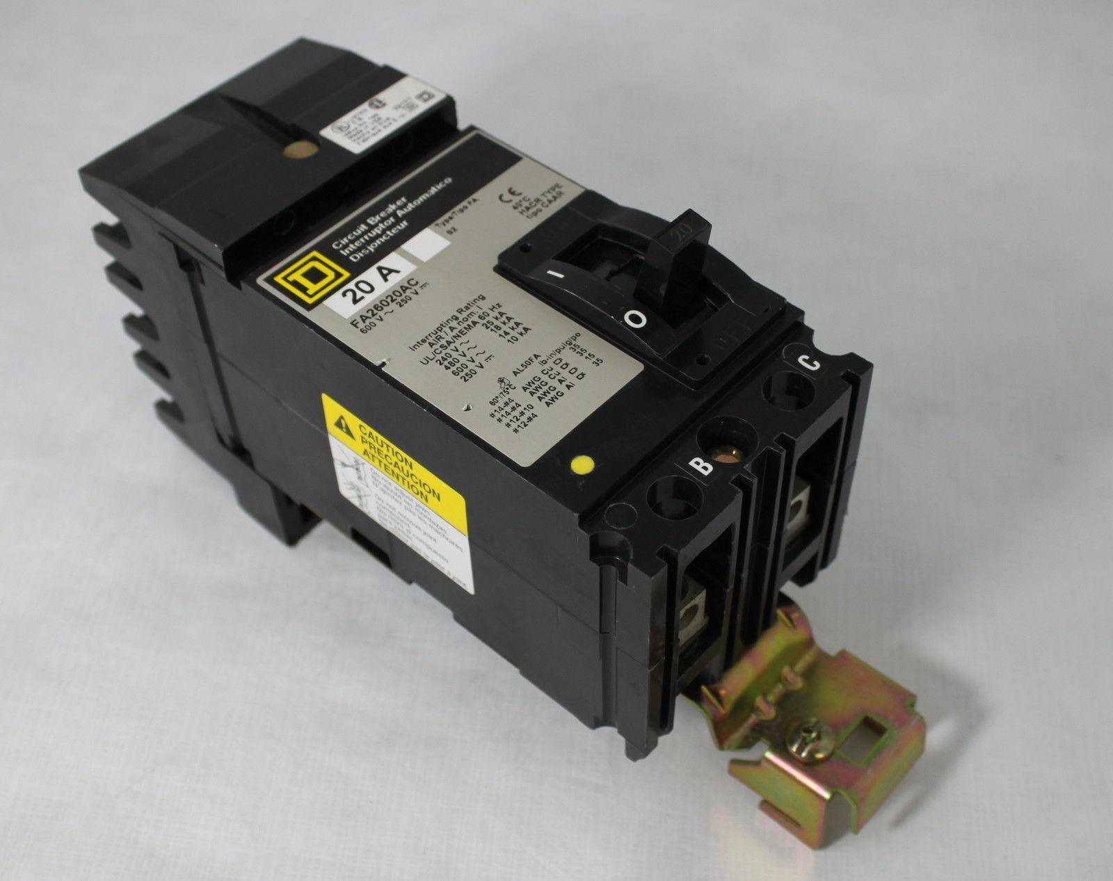 Square D 20A Circuit Breaker Interruptor FA26020AC Type FA 600V CAAR image 3