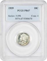 1939 10c PCGS PR 67 - Mercury Dime - $402.55
