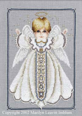 Primary image for Angel Boy Button Box Baby cross stitch Butternut Road Marilyn Leavitt-Imblum