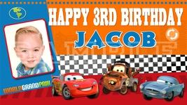 Disney Pixar Cars World Grand Prix Custom Personalized Birthday Banner w/Photo - $39.95