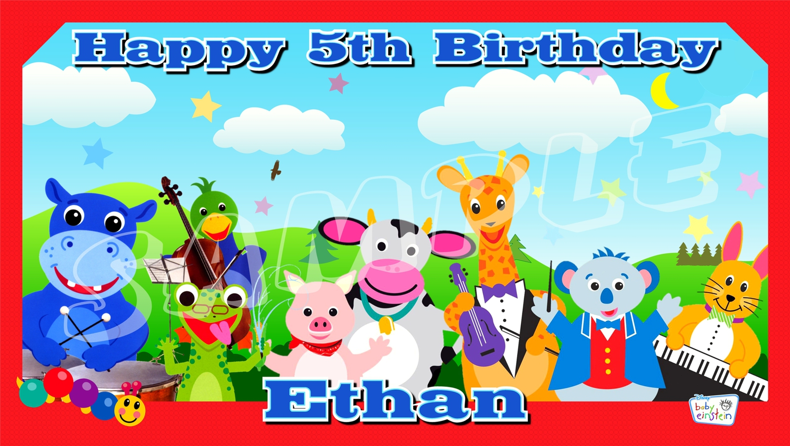 Baby einstein custom personalized birthday party banner for Baby einstein decoration