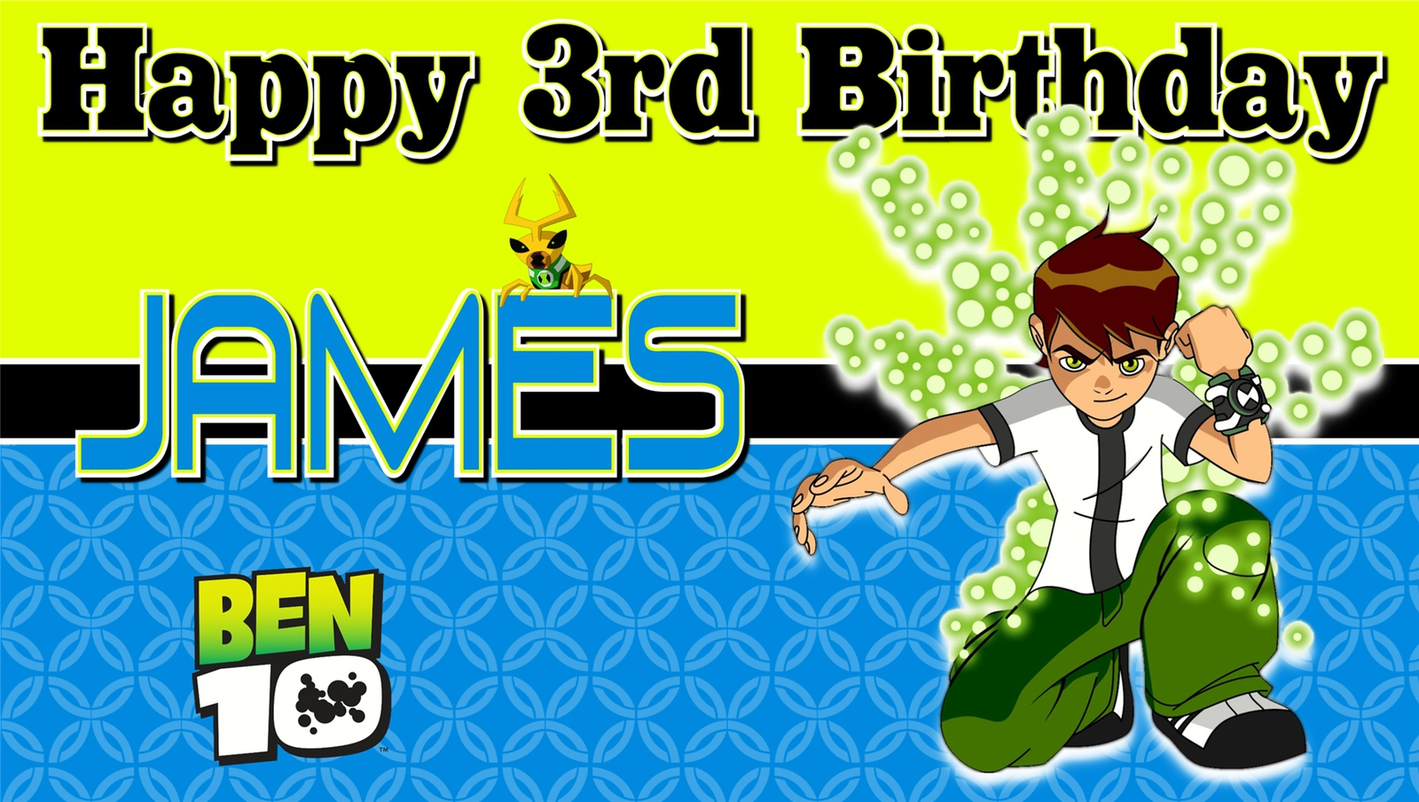 Ben 10 Custom Personalized Birthday Party Banner