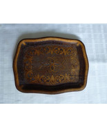 Albanian vintage hand carved wood tray decorative & funcional 40 years old - $51.48