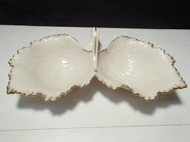 Vintage Lenox Center Handled Two Part Candy Server with Gold Trim - $19.44