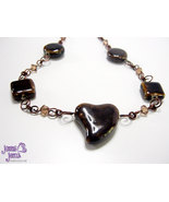 Wire Necklace: Brown Wire Porcelain Heart Princess Necklace with Swarovski Cryst - $45.00