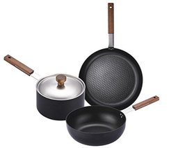 Cookin IH Induction Cookware Sets Nonstick Fry Pan Wok Pan Pot Wood Handle Titan