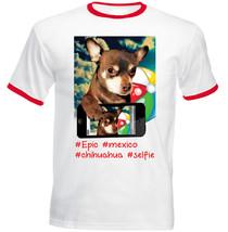 Chihuahua Selfie Brown - Red Ringer Cotton Tshirt - $26.60