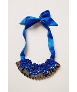 NWT Anthropologie Blue Roses Bib Necklace - by ... - $71.52