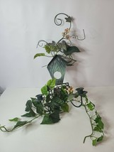 Vintage Wall Sconces Candle Holder Green Rope Twisted with Faux Plant Fl... - $55.88