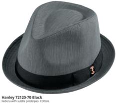 Who Ced Hanley Cotton Stingy Brim Fedora Fully Lined Pinstripe Black Nav... - $46.00
