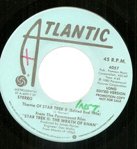 "Theme of Star Trek II The Wrath of Khan dj promo 7"" 45 James Horner soun... - $8.98"