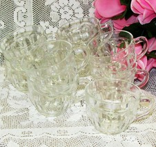 VINTAGE PUNCH CUPS FEDERAL GLASS COLONIAL SET LOT OF 9 CLEAR PANELS DEPR... - $39.99