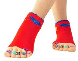 PANDA SUPERSTORE (Red Bowknot) Autumn Winter Cotton Women's Five Toes Socks Midd