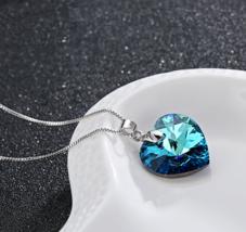 Classic Mini Heart Swarovski Element Necklace Pendant Sapphire Blue - #2021 - $20.69