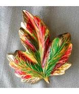 Fabulous Multi-color Enamel Gold-tone Leaf Brooch  Vintage 1960s  - $12.95