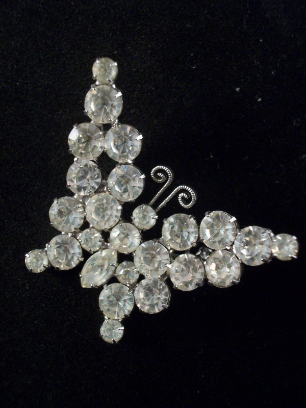 Sparkling Crystal Clear RS Rhodium Plated Butterfly Brooch by D & E 2384