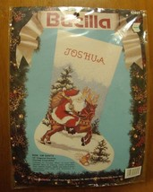 New Vintage 1991 Bucilla Cross Stitch Christmas Stocking Ride 'Em Santa Kit  #82 - $29.95