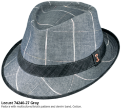 Who Ced Locust Cotton Fedora Denim Band Fully Lined Sweatband Gray Light... - $47.00