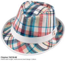 Who Ced Clayton Cotton Fedora Fully Lined Closed Back  Multi Color Plaid - $48.00